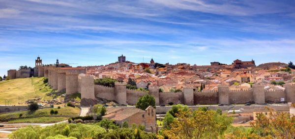 Ávila which is surrounded by its 11th century city walls, about 2500 meters long with 90 towers.