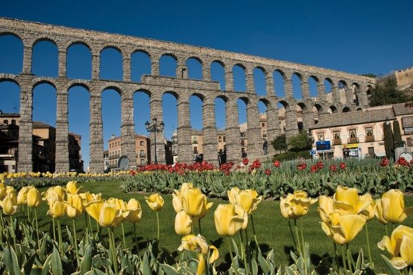 Segovia an old, well-preserved city, with highlights such as the Roman aqueduct and castle.