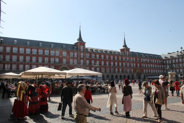 Madrid with its Plaza Mayor, Royal Palace, el Retiro park, plaza Puerta del Sol and many museums such as Prado and Reina Sofia with the famous Guernica of Picasso.